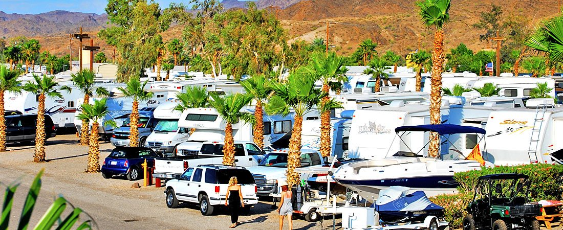 Rv camping lot with palm trees